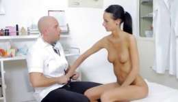 Licentious angel cannot stop moaning during examination at gynecologist
