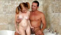 Handsome man shags in the big bath with cute teen girl