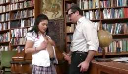 Horny brunette is getting fucked right in a library hard core and deep