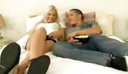 Hot fancy blonde whore is on this very huge fat dick getting absolutely bawdy riding it