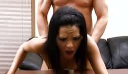 Charming nice breasty brunette hooker is moaning loudly during the sex