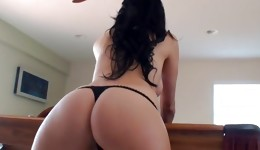 Amazing looking dark-haired is blowing a dick and giving a deepthroat on it