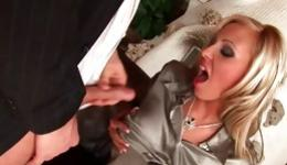Trendy bright-haired is swallowing a lengthy boner and is riding it intensely