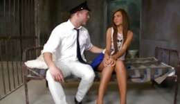 Hot brunette is getting her hole slammed crude by a policeman gentleman