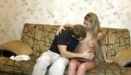 Teen darling is going deep on a lengthy boner and he's rubbing her cunt