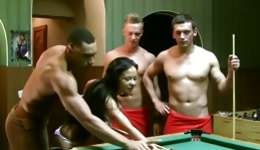 Unbelivable courting on a billiard table between three fellas and young doll