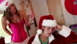 Sexually raunchy and nasty young bitch playing the dirty games with Santa